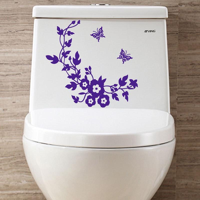Hot prodej kreativní kutilství květiny a motýli záchodové samolepky domácí výzdoba obývací pokoj samolepky na zeď pro děti