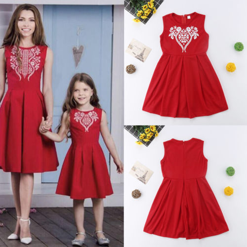 Mother & Kids 2018 New Summer Mother Daughter Blue Dress Sleevless Matching Women Kid Girls Casual Swing Dress Family Matching Fashion Clothes