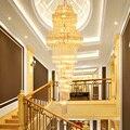 Moderne Kristall Kronleuchter Beleuchtung Befestigung FÜHRTE Lichter Amerikanische Golden K9 Kristall Kronleuchter Hause Lange Treppen Weg Indoor Lichter-in Kronleuchter aus Licht & Beleuchtung bei