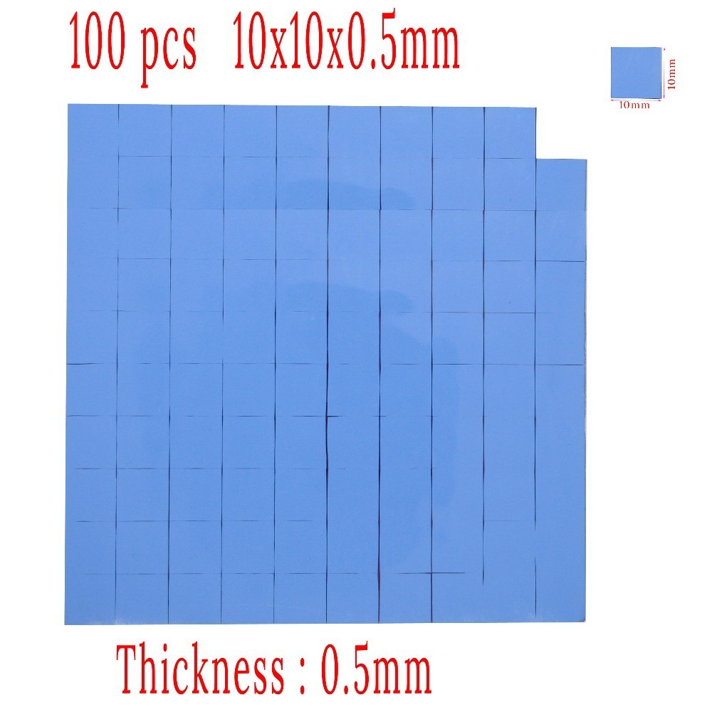 100pcs 10x10x0.5mm Thermal Pad For GPU CPU Heatsink Cooling Conductive Silicone Thermal Pad 100mmx100mmx0 5mm gpu cpu heatsink cooling thermal conductive silicone pad for graphic cards chips bridge memory chipset