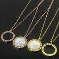Grande negro blanco shell collar de señora Roma números/letras Colgante de collar de Conchas Collar de oro rosa