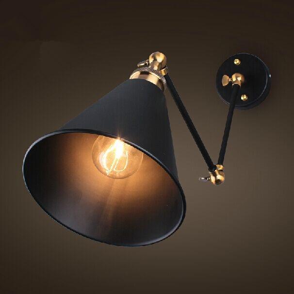 Retro Two Swing Arm Wall Lamp For Bedroom Bedside Adjustable Wall Mount arm lamp abajur para quarto de cabeceira