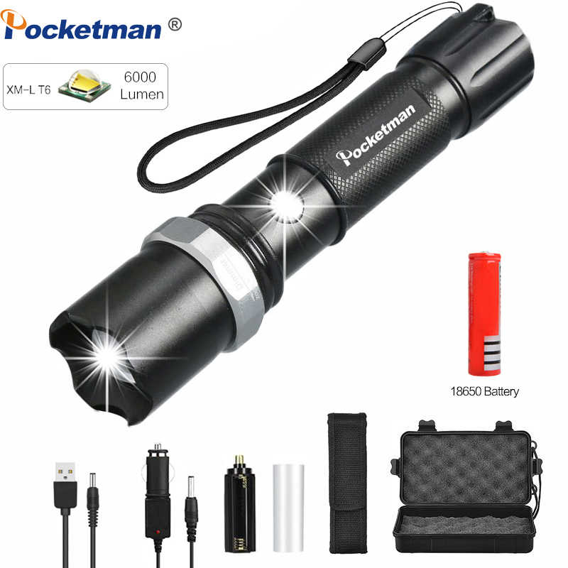 Ultra Bright 6000LM L2 LED Flashlight Rechargeable 3 Modes Zoom Torch For Hiking