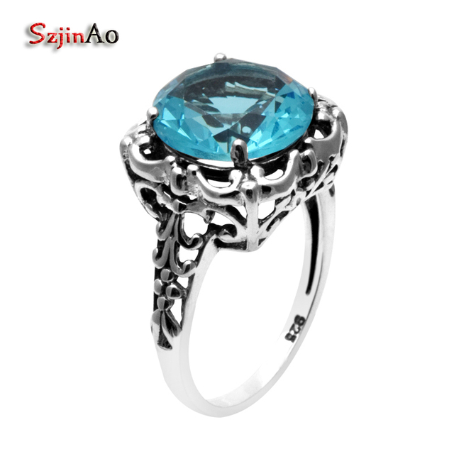 szjinao brand antique silver ring bohemian wedding rings for women blue stone crystal 925 sterling silver - Bohemian Wedding Rings