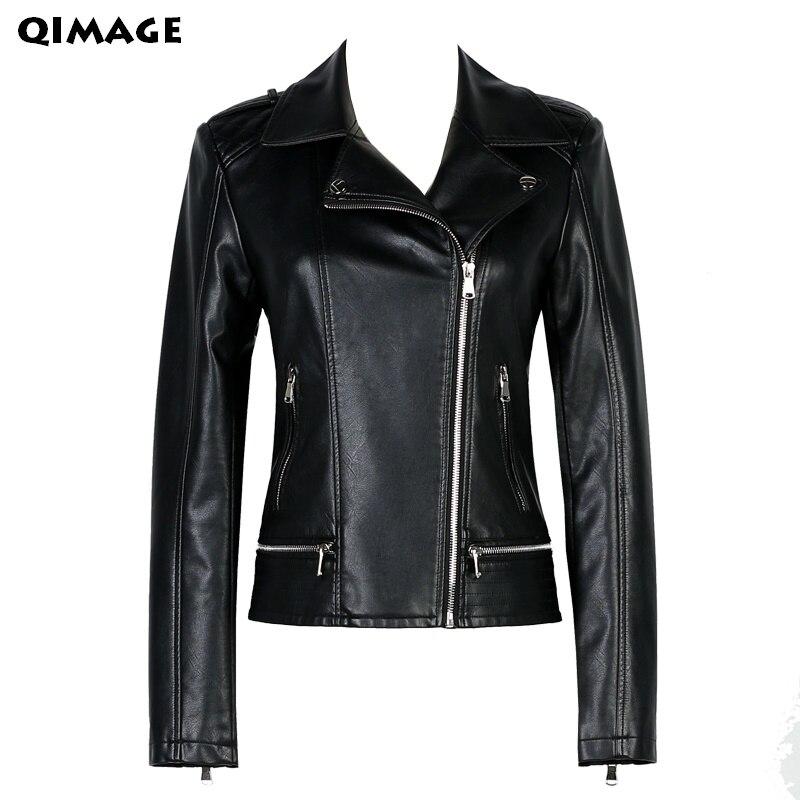 QIMAGE 2017 Novinka dámská kožená bunda černá štíhlá vysoce kvalitní PU plus velikost XXXXL dámský kabát Veste Cuir