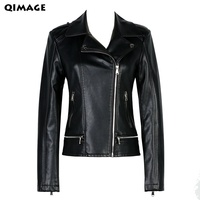 QIMAGE 2017 New Ladies Motorcycle Leather Jacket Black Slim High Quality PU Plus Size XXXXL Women Coat Veste Cuir