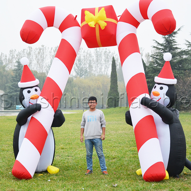 5mwide outdoor giant sweet christmas inflatable decoration inflatable arch with penguin n candy cane for advertising - Giant Candy Decorations Christmas