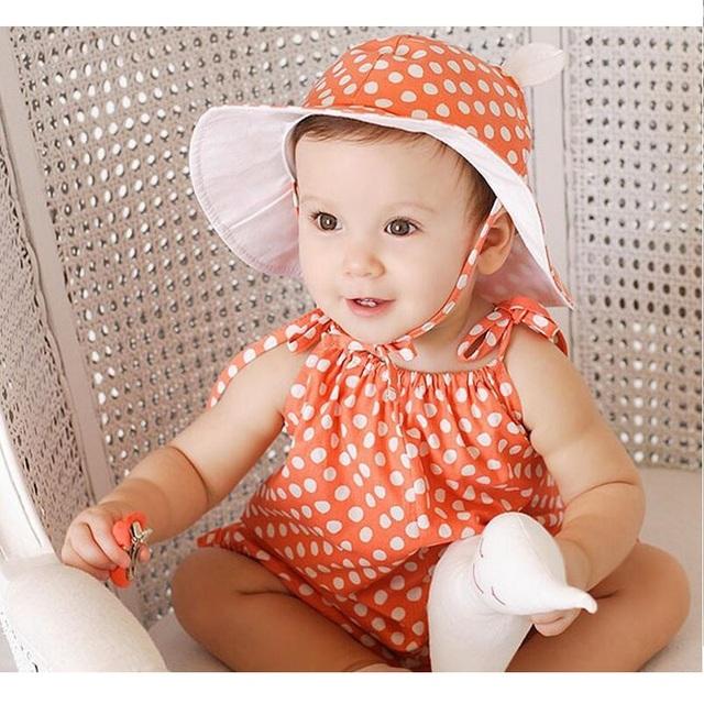 Anjo bebê Meninas Rompers 2016 Nova Algodão Macio Romper Bonito Dot Impresso Roupas de Verão Doce Roupas de Menina 0-12 M