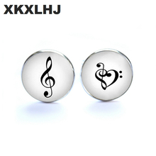 XKXLHJ New Fashion Love of Music Cufflinks Musical Harmony Glass Cabochon Art Photo Music Note Cufflink Gift for him pair of chic solid color musical note shape alloy cufflinks for men