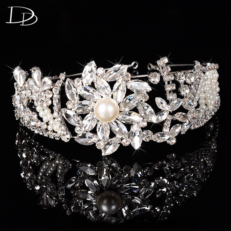 gorgeous tiara for women simulated pearl Austrian crystal wedding party hair jewelry 585 gold plated bridal