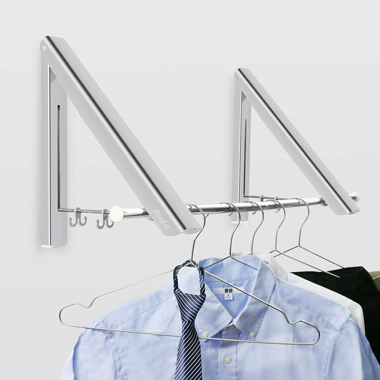 Folding Clothes Hanger Wall Mounted Retractable Clothes