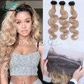 8A Pré Arrancadas 360 Lace Frontal Encerramento Com Bundles Ombre # 1B/27 Honey Blonde Brasileiro Corpo Cabelo Virgem onda Natural Da Linha Fina
