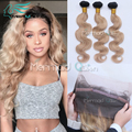 8A Pre Plucked 360 Lace Frontal Closure With Bundles Ombre #1B/27 Honey Blonde Brazilian Virgin Hair Body Wave Natural Hairline