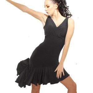 Fashion Women Sleeveless V-neck Black Latin dance Dress Rumba Skirt One Piece Stage Costume