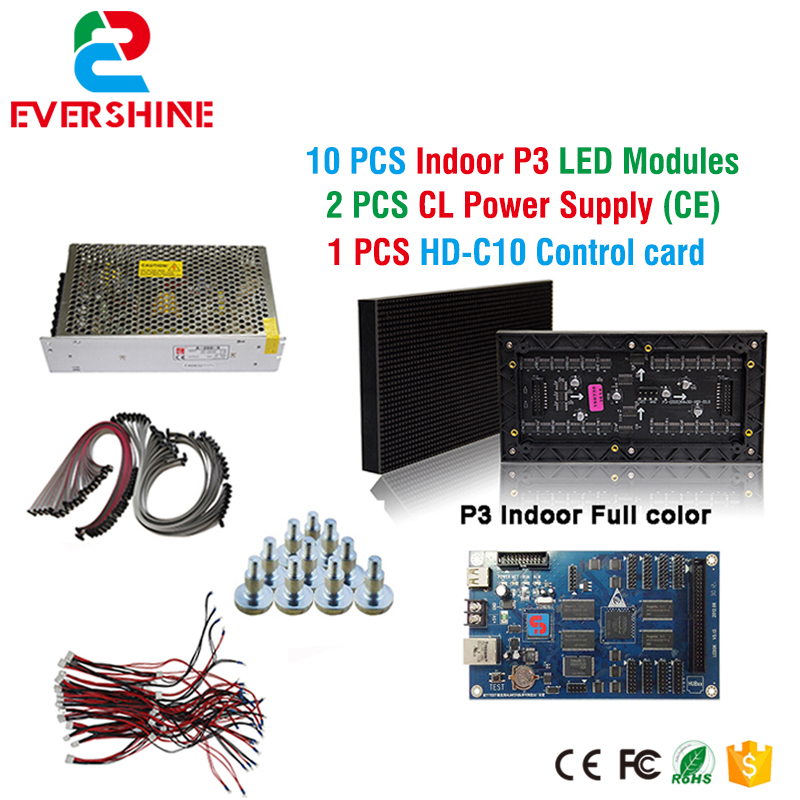DIY P3 LED Display screen,SMD Indoor full color Module 10pcs+1 pcs Control card C10 +CL Power supply 2pcs,P3 RGB Led Sign diy kit p10 led display advertising outdoor full color module 4 pcs d10 control card 1 pcs jn power supply 1 pcs