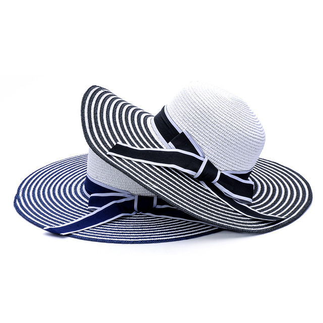 52c390c134a Ms Fashion Summer Casual Black White Striped Hat Summer Beach Hat with A  Bow Large Brim