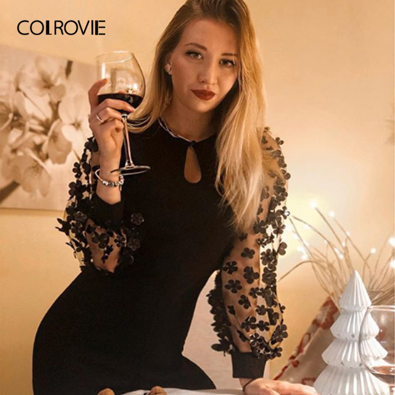 COLROVIE Black Applique Sheer Sleeve Keyhole Party Long Rompers Womens   Jumpsuit   Winter Long Sleeve Elegant Femme Sexy   Jumpsuits