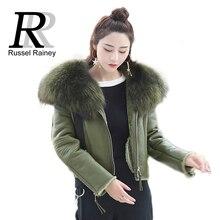 RR с капюшоном Настоящее Raccon овец Мех короткие Пальто и пуховики Для женщин зима натуральной овчины Куртки и пиджаки женщина тонкий Модные пальто женские