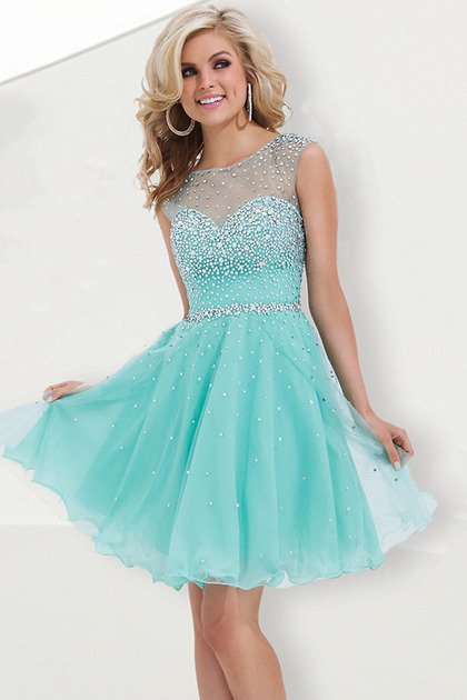 2015 Fashion Prom Dresses Short Tulle Color Ice Blue 100% Same As ...