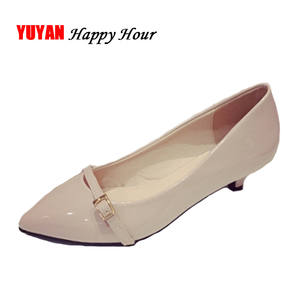 7ae85cdee7a7fd 2018 Leather High Heels Women s Pumps Shoes Low Heel