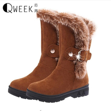 QWEEK Women Winter Warm Boots Rabbit Fur Boots for Women Casual Flat Shoes Round Toe Snow Boots Suede Buckle Ankle Boots