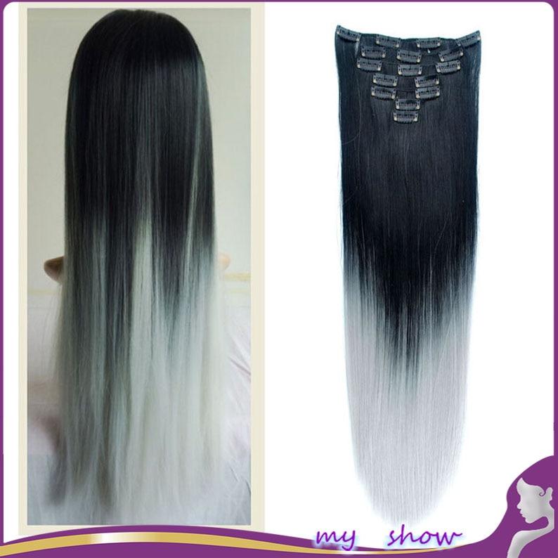 24150g 7pcsset Dip Dye Ombre Grey Hair Long Straight Hair