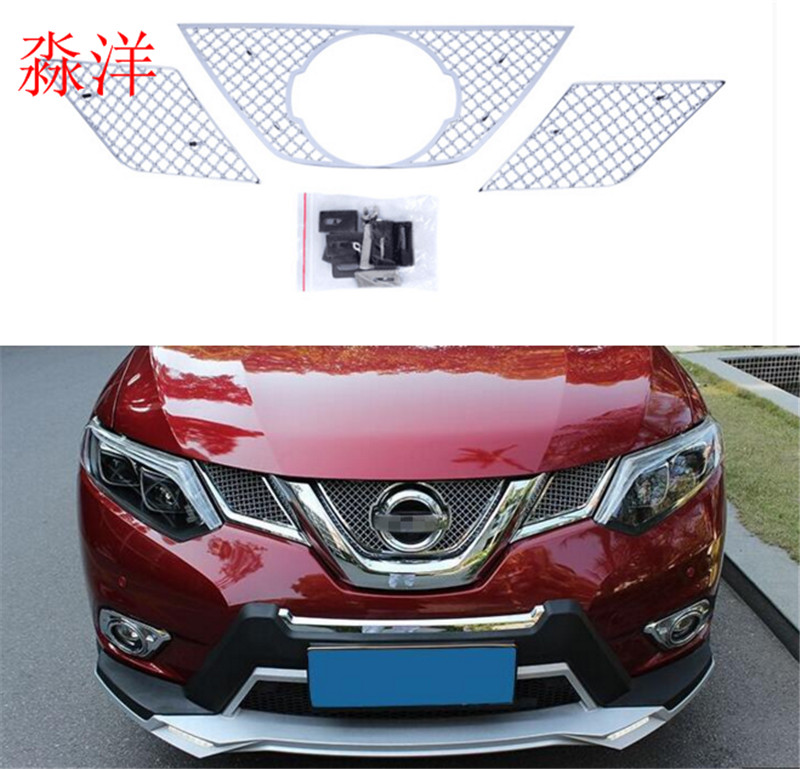 For Nissan X-Trail x trail T32 / Rogue 2014 2015  Honeycomb Style Front Grille Grill Bezel Cover Cap Trim 3 Pcs / Set