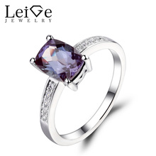 Leige Jewelry Alexandrite Ring Cushion Cut Engagement Promise Rings for Women 925 Sterling Silver Fine Jewelry June Birthstone