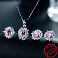 Modian 2017 Fashion Jewelry Pink Color Zirconia Crystal Earrings Solid 925 Sterling Silver Ring Sets Classic Pendant Necklace