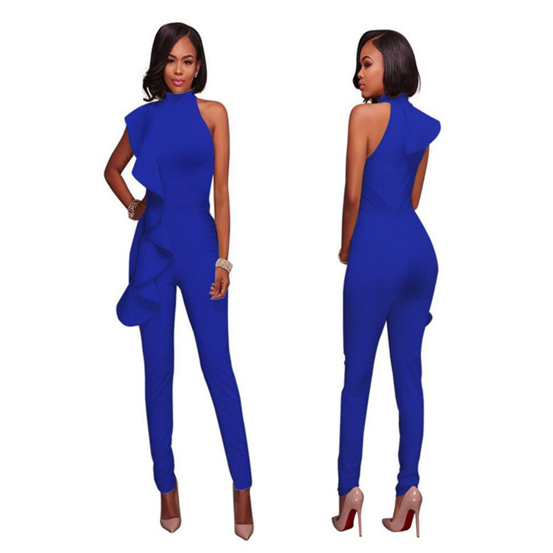 4b2d98cbd8a Sexy Ruffle Rompers Womens Jumpsuit Clubwear 2018 Cold Shoulder Backless V  Neck Wide Leg Black White