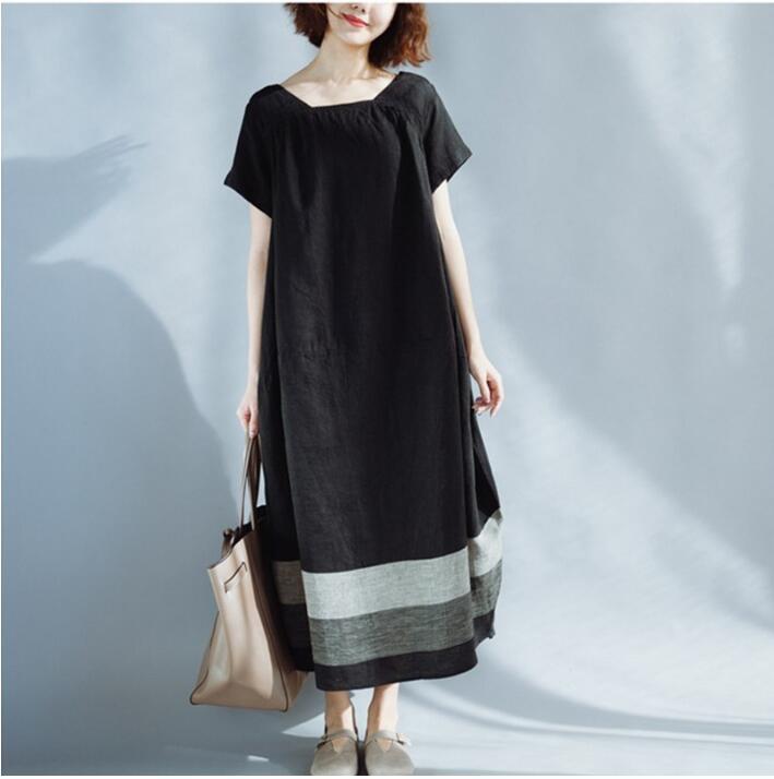 Women Fashion Literary Pure Cotton & Linen Stitching Large Pocket Long Bud Black White Contrast Color Dress