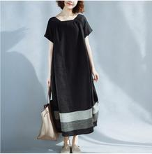 Women Fashion Literary Pure Cotton & Linen Stitching Large Pocket Long Bud Black White Contrast Color Dress
