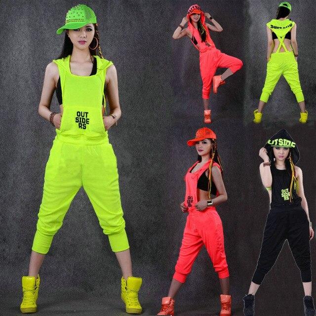 Hip Hop Dance Costume performance wear women romper European playsuit one  piece Pants loose overalls harem jazz jumpsuits 53eea968201