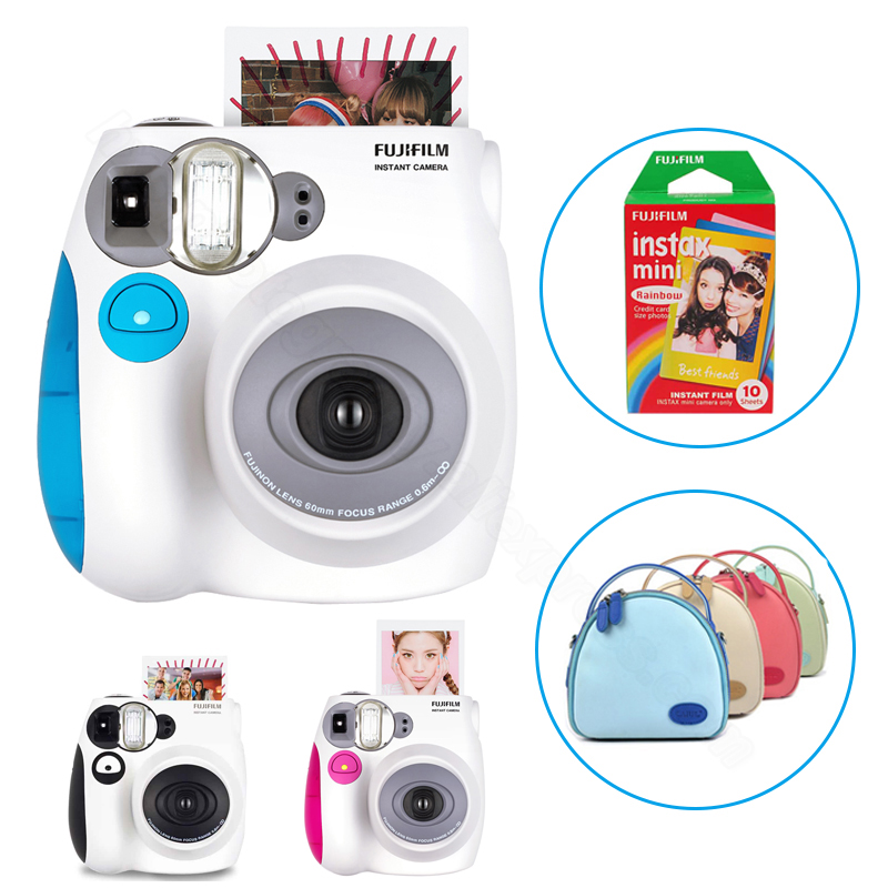 Genuine Fuji Fujifilm Instax Mini 7s Instant Camera Set with Rainbow Mini Film and Carrying Case (Shoulder Bag) with Strap цены