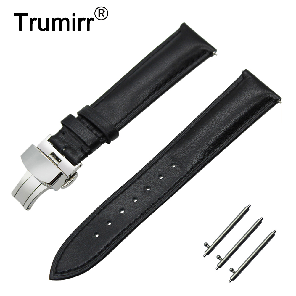22mm Genuine Leather Watch Band Quick Release Strap for Asus ZenWatch 1 2 Men WI500Q WI501Q Butterfly Clasp Wrist Belt Bracelet цена