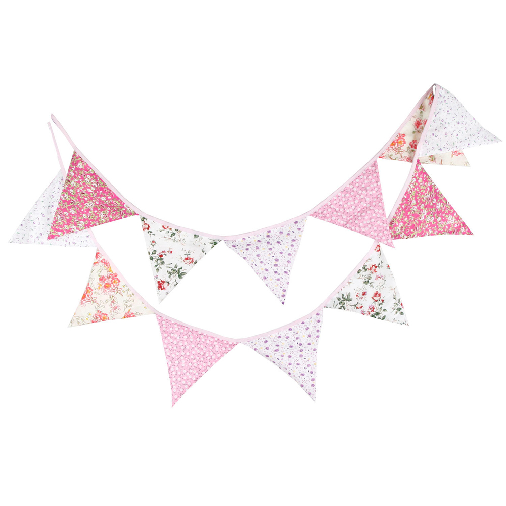 Cotton String of Flags 12 Flags 3.2m Retro Flowers Party Wedding Birthday Pennant Bunting Banner Decorations Shot of Baby