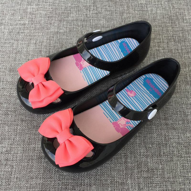 2018 Mini Melissa Baotou Jelly Cold Cloth Flower Girl Cool Slipper Bow Snap Fastener Princess Single Shoe Baby Summer Sandals