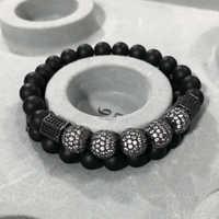 2 unids/set pulsera de cuentas para Hombre y mujer pulsera de Buda con incrustaciones de circonio de doble capa