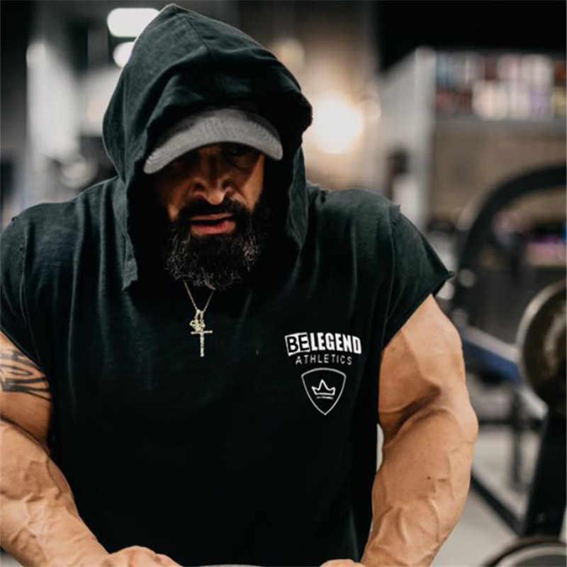 2019 Panas Baru Binaraga Tanpa Lengan Hoodies Gym Tank Top untuk Pria Singlet Katun Kebugaran Olahraga Pakaian