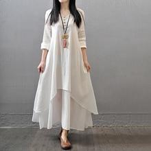 Boho Dress Vintage Women Asymmetrical Fake Two Pieces Long Sleeve Solid Linen Maxi Dress Plus Size Summer Dress vestidos 5XL H30 plus asymmetrical solid dress