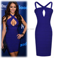 New summer dress 2014 The new cross Deep V dress dew chest sexy cocktail stage nightclub Womens skinny bandage dress