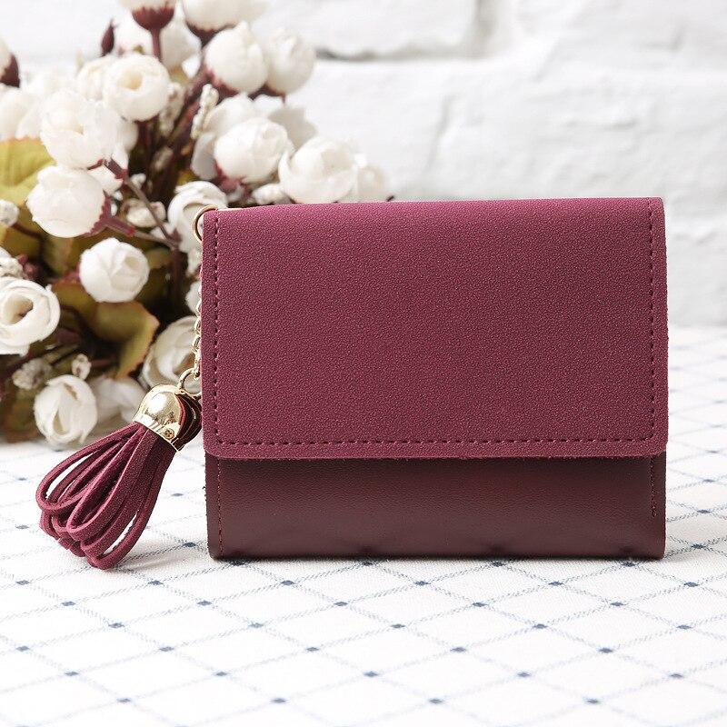 wulekue Women Matte Leather Short Tassel Wallets Trifold Hasp Purse Female Coin Case Photo Credit Card Holder