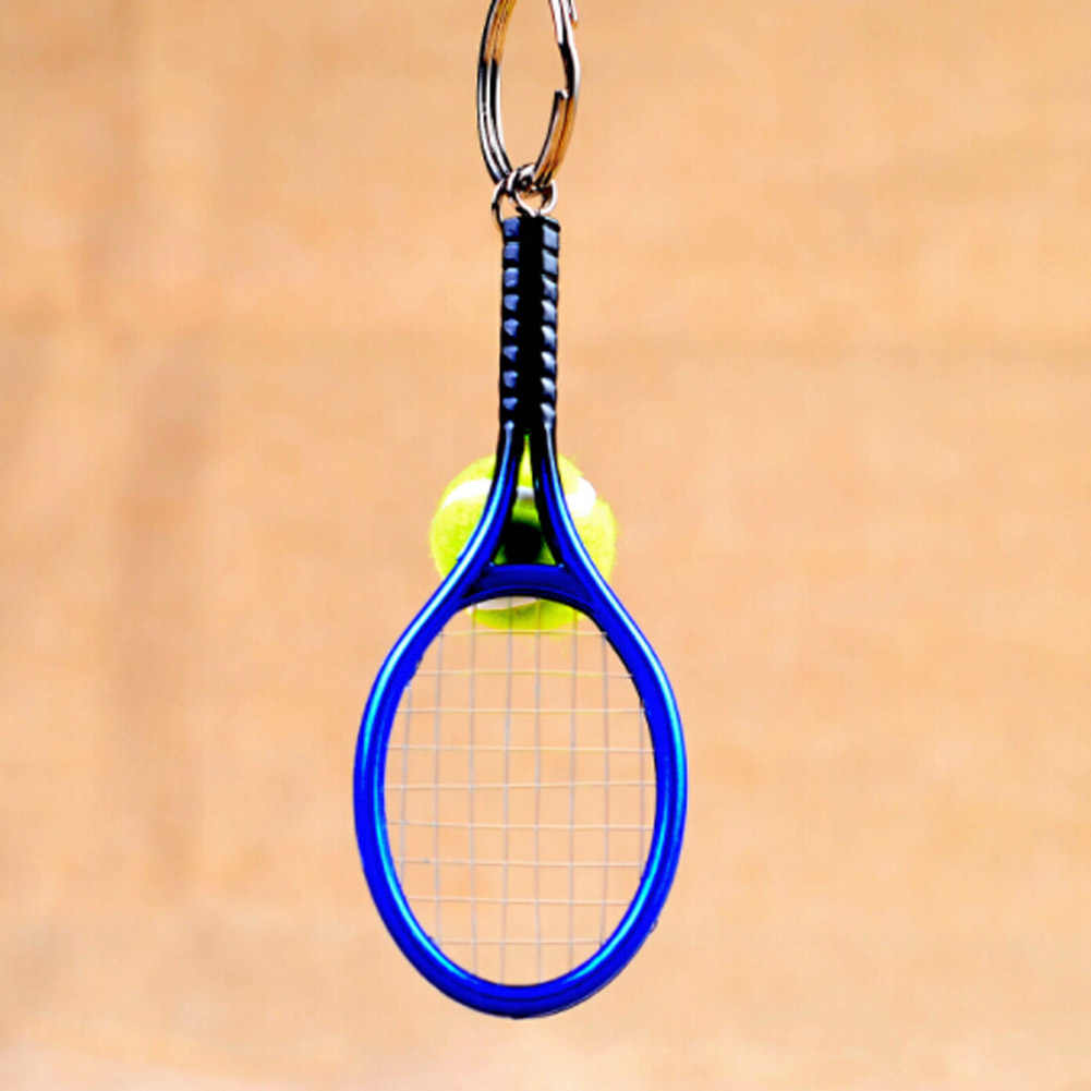 6 Color  1PC Creative Personality  Tennis And Mini Tennis Racket Key Ring Keys Chain  Key Holder Gift  For Men / Women