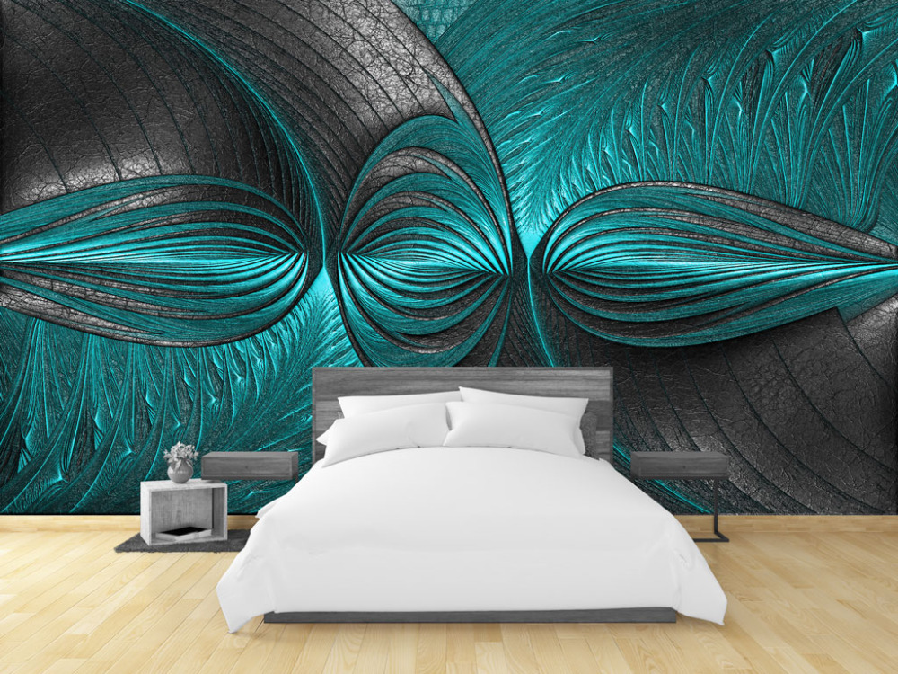 US $8.85 41% OFF|beibehang Living Room Bedroom Wallpaper 3D Modern  Turquoise Green Wall Custom Photo Wallpaper Mural wall papers home decor-in  ...
