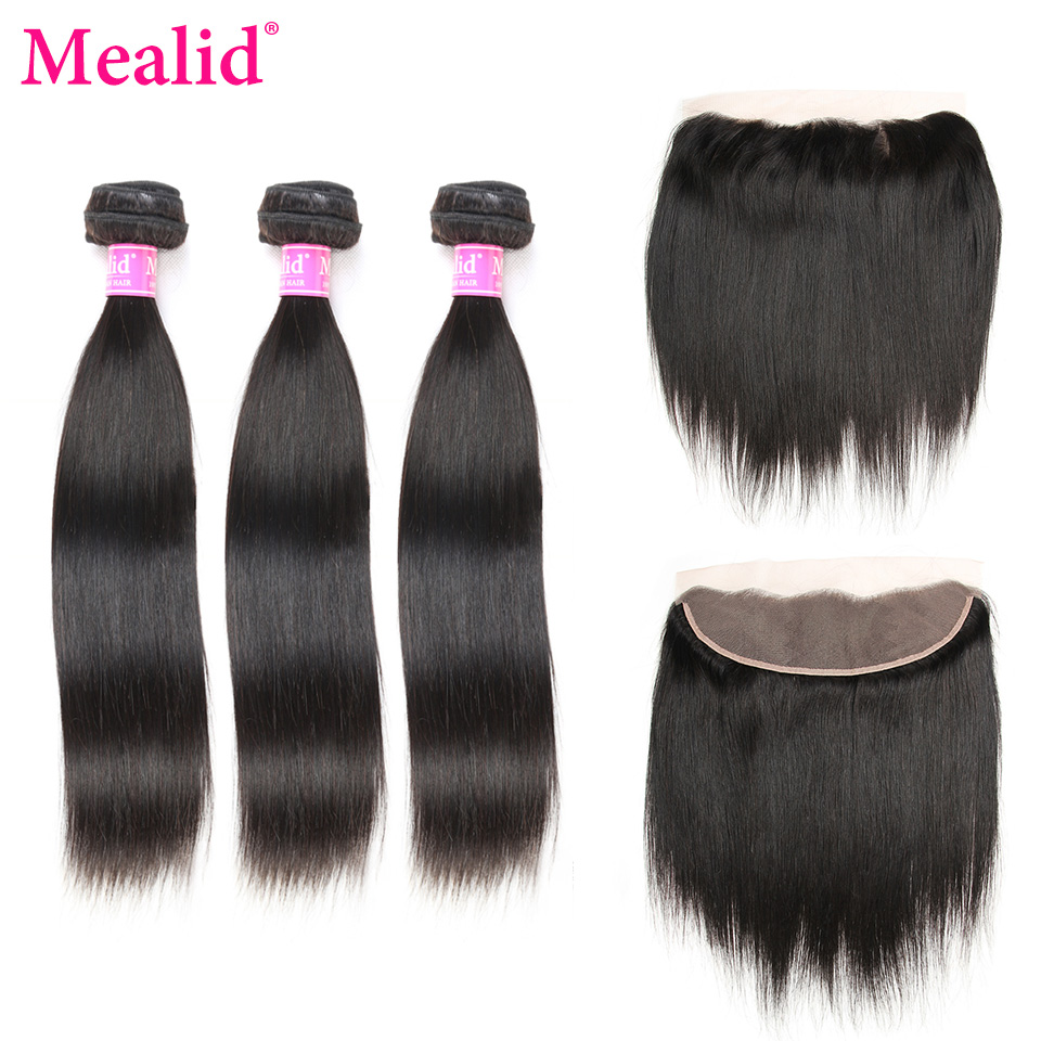 Mealid Malaysian Straight Hair 3 Bundles With Frontal Non-remy Natural Color Human Malaysian Lace Frontal With Bundles Free Part
