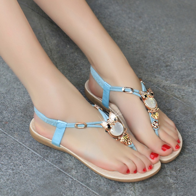 Best Selling Summer Style Casual Sandals Women Rhinestone Flat Heel Ladies  Shoes Owl Design Female Bohemia Beach Shoe Plus Size-in Women s Sandals  from ... 39f76426dfc