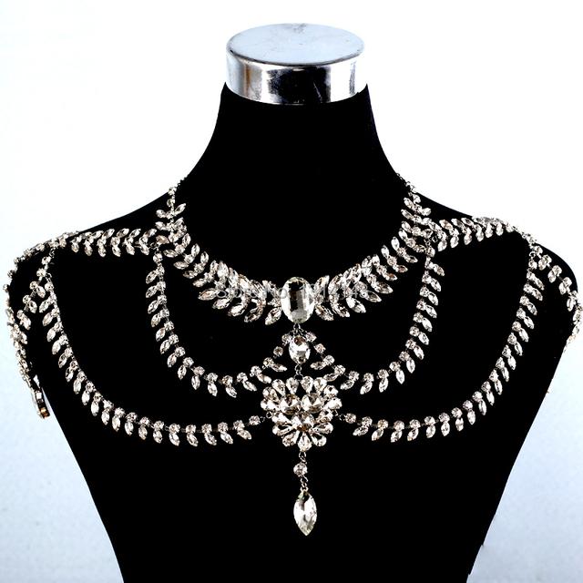 2016 Nuevo collar de gargantilla de Diseño Sistemas de la Joyería de Las Cadenas de diamantes de Imitación de Novia de La Boda Vestido de Hombro de la Cadena Accesorios Collar Conjunto