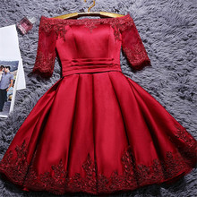 Elegant Off The Shoulder Ladies Appliqued A Line Lace Up Dress Half Sleeves Formal Party Dress Short Women Satin Dress Vestidos спиннинг shimano catana dx ul 240 1 11г
