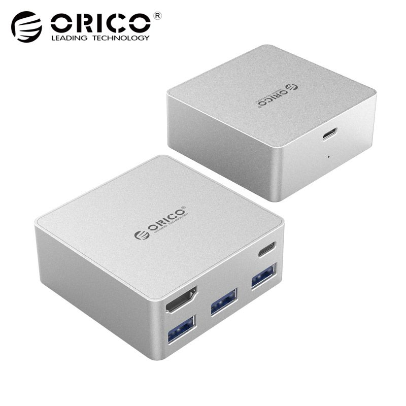 ORICO Aluminum Laptop Docking Stations TYPE-C to TYPE-C HDMI Converter for New Macbook Laptop Desktop PC with 3 USB3.0 HUB переходники orico адаптер orico cta1 microusb to type c поддерживает скоростную передачу данных usb 3 0