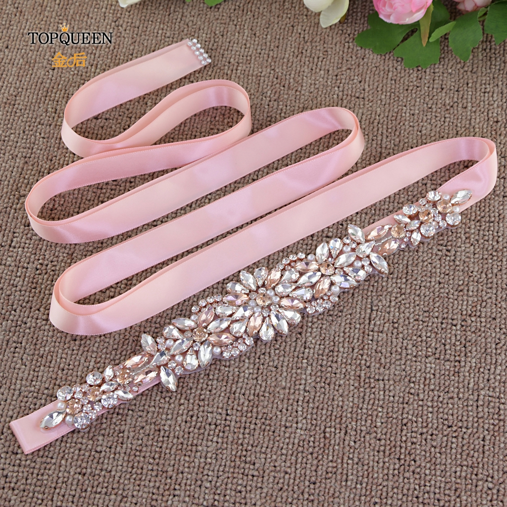 TOPQUEEN S423 Rose Gold Wedding Dress Belt Rose Gold Rhinestone Belts Fashion Design Rhinestone Bridal Belt With Diamonds